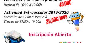 Cartel fechas Taller y Actividades Extraescolares 2019/2020
