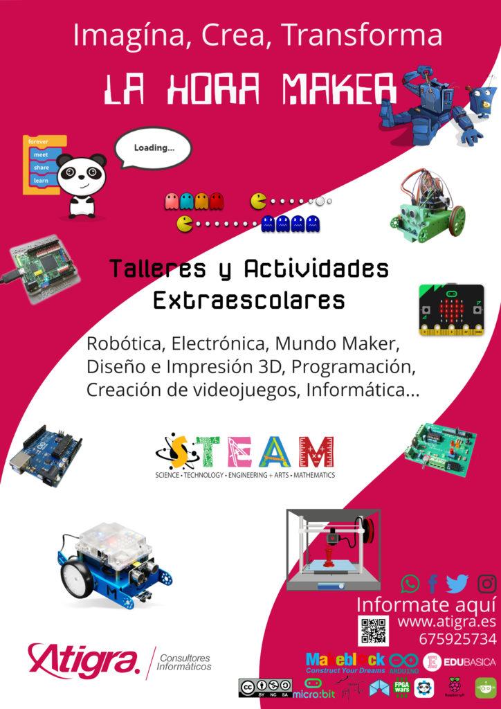 Cartel talleres y actividades extraescolares de STEAM